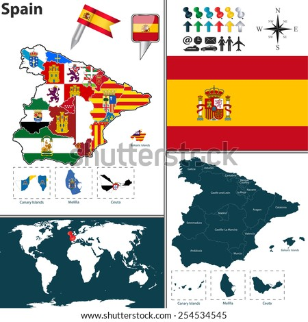 Vector map of Spain with regions with flags
