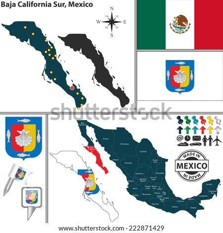 Vector map of state Baja California Sur with coat of arms and location on Mexico map