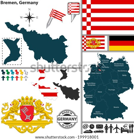 Vector Map State Bremen Coat Arms Stock Vector - Germany map location