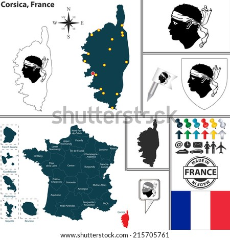 Vector Map State Corsica Coat Arms Stock Vector 215705761 Shutterstock