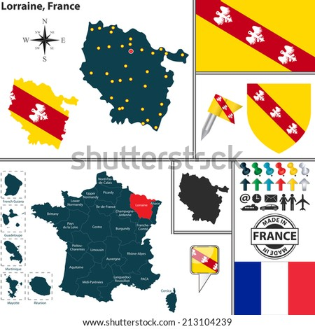 Vector map of state Lorraine with coat of arms and location on France map - stock vector