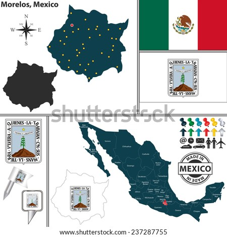 Vector map of state Morelos with coat of arms and location on Mexico map