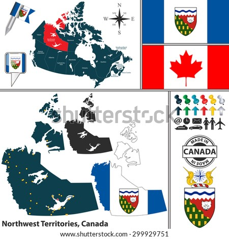 Vector map of state Northwest Territories with coat of arms and location on Canadian map