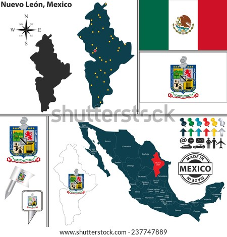 Vector map of state Nuevo Leon with coat of arms and location on Mexico map