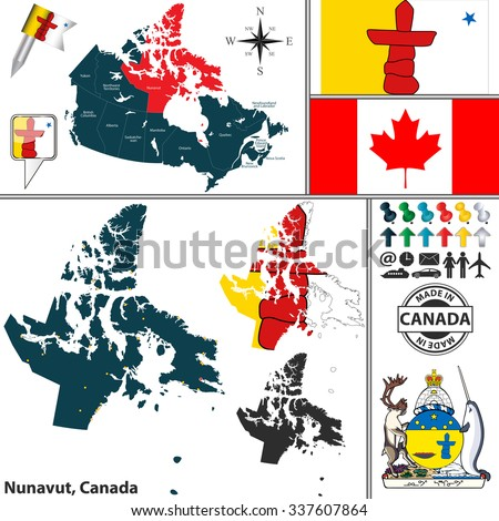 Vector Map State Nunavut Coat Arms Stock Vector 337607864 Shutterstock