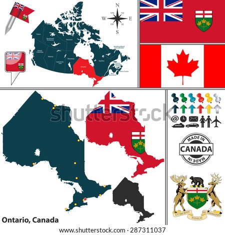 Vector Map State Ontario Coat Arms Stock Vector HD Royalty Free
