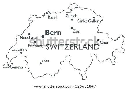 Switzerland Map Stock Images RoyaltyFree Images Vectors - Cities map switzerland