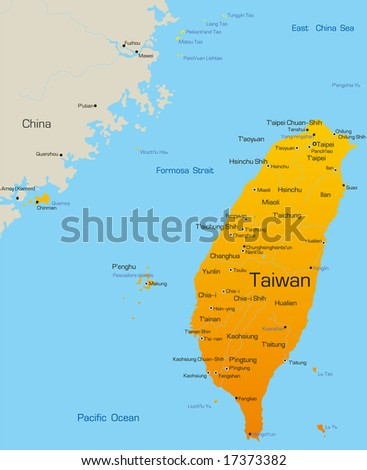 Vector map of Taiwan country - stock vector