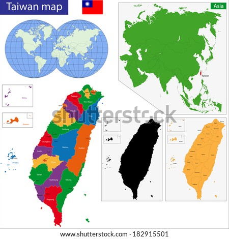 Vector map of Taiwan drawn with high detail and accuracy. Taiwan is divided into regions which are colored with different bright colors. - stock vector
