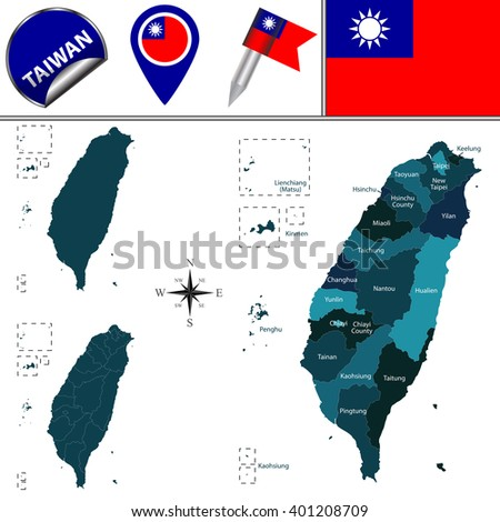 Vector map of Taiwan with named divisions and travel icons