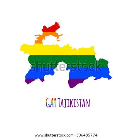 Vector Map Tajikistan Lgbt Lesbian Gay Stock Vector - Tajikistan map vector