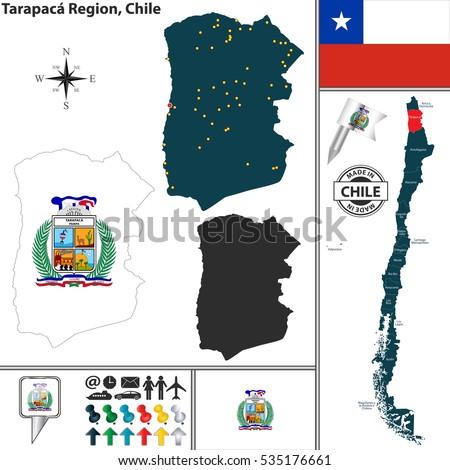 Vector Map Tarapaca Region Location On Stock Vector - Chile regions map