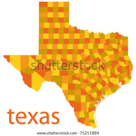 vector map of texas state, usa - stock vector