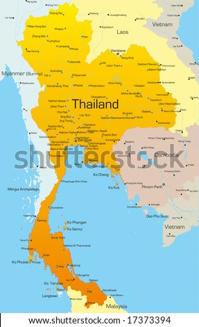 Vector map of Thailand country - stock vector