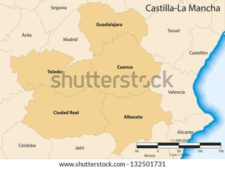 Vector map of the autonomous community of Castile La Mancha (Castilla La Mancha). Spain. - stock vector
