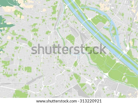 vector map of the city center of Vienna, Austria. Elements of this illustration furnished by European Environment Agency. - stock vector