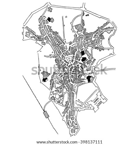 Vector map of the city.  Doodle city map.  - stock vector