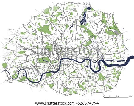 Vector Map City London Great Britain Stock Vector HD Royalty Free