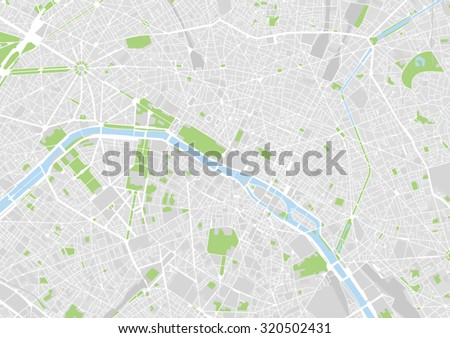 vector map of the city of Paris - stock vector
