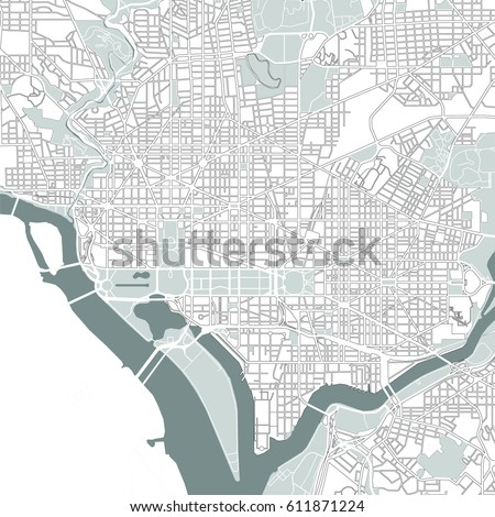 Vector Map City Washington Dc Usa Stock Vector - Washington dc usa map