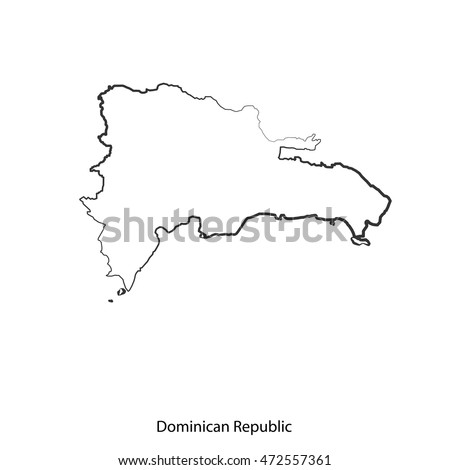 Vector Map Dominican Republic Border Black Stock Vector - Dominican republic map vector