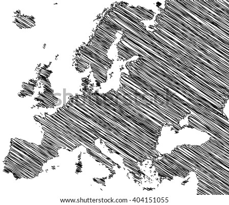 vector map of the Europe drawing in black marker on a white background. Sketch Europe map for infographics, brochures and presentations - stock vector