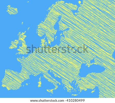 vector map of the Europe drawing in green marker on a blue background. Sketch  for infographics, brochures and presentations - stock vector