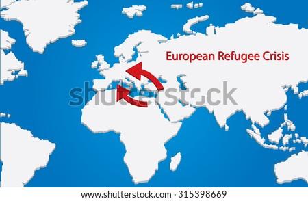 Vector map of the european refugee crisis - stock vector
