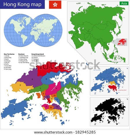 Vector map of the Hong Kong Special Administrative Region of the People's Republic of China drawn with high detail and accuracy.  - stock vector