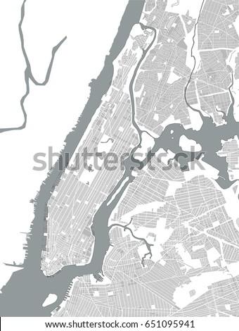 Vector Map New York City Ny Stock Vector 721540276 Shutterstock