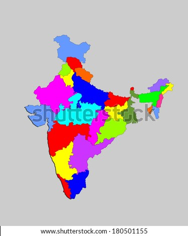 Vector map of the Republic of India with the states colored in bright colors.India vector map, high detailed illustration, isolated on gray background.  - stock vector