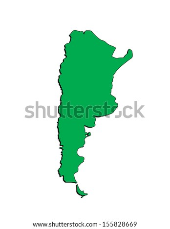 Vector Map of the South American Country of Argentina; Illustrator 8 - stock vector