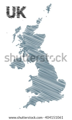 vector map of the United Kingdom colored grey marker on a white background. sketch drawing UK map for infographics, brochures and presentations. - stock vector