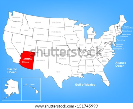 Vector Map of the United States Highlighting the State of Arizona; Illustrator 8 - stock vector