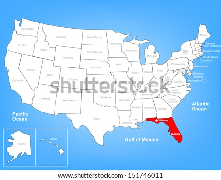 Vector Map of the United States Highlighting the State of Florida; Illustrator 8 - stock vector