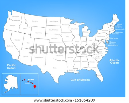 Vector Map of the United States Highlighting the State of Hawaii; Illustrator 8 - stock vector