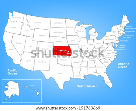 Vector Map of the United States Highlighting the State of Kansas; Illustrator 8 - stock vector