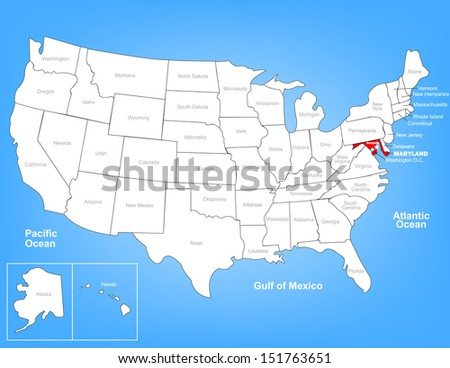 Vector Map of the United States Highlighting the State of Maryland; Illustrator 8 - stock vector