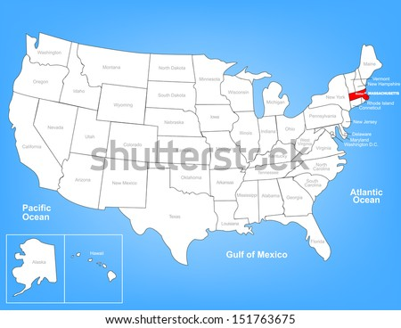Vector Map of the United States Highlighting the State of Massachusetts; Illustrator 8 - stock vector