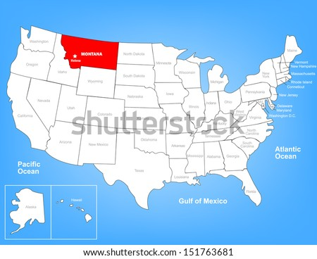 Vector Map of the United States Highlighting the State of Montana; Illustrator 8 - stock vector