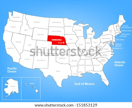 Vector Map of the United States Highlighting the State of Nebraska; Illustrator 8