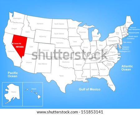 Vector Map of the United States Highlighting the State of Nevada; Illustrator 8