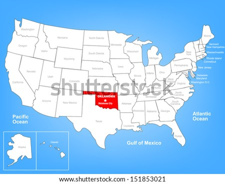 Vector Map of the United States Highlighting the State of Oklahoma; Illustrator 8