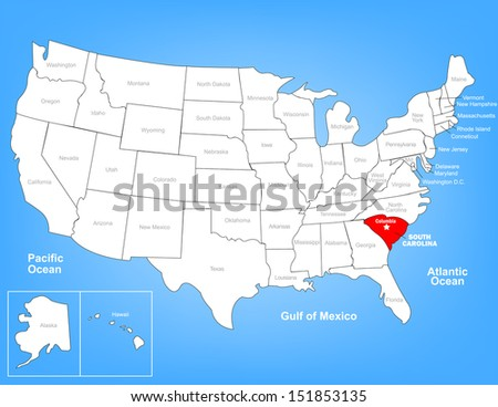 Vector Map of the United States Highlighting the State of South Carolina; Illustrator 8