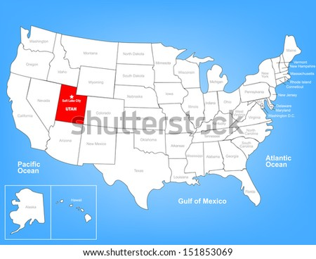 Vector Map of the United States Highlighting the State of Utah; Illustrator 8 - stock vector