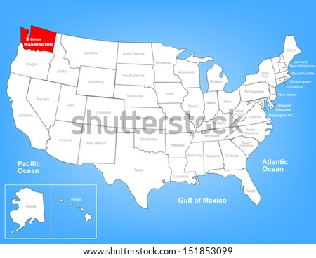 Vector Map of the United States Highlighting the State of Washington; Illustrator 8 - stock vector