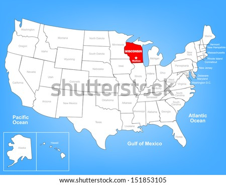 Vector Map of the United States Highlighting the State of Wisconsin; Illustrator 8