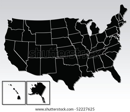 vector map of the united states of america - stock vector
