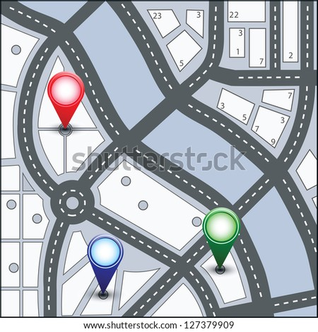 Vector map of the urban area in various colors - stock vector