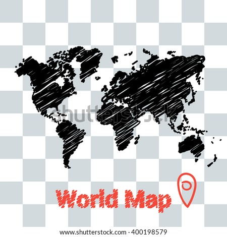 vector map of the world drawing in black marker on a transparent background. Sketch world Map for infographics, brochures and presentations. - stock vector